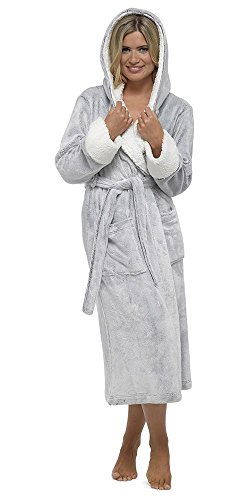 Ladies Shimmer Fleece Robe, Luxury Hooded Dressing Gown, Size 8-18, DD526 - 41rCiGx 2BGIL - Ladies Shimmer Fleece Robe, Luxury Hooded Dressing Gown, Size 8-18, DD526