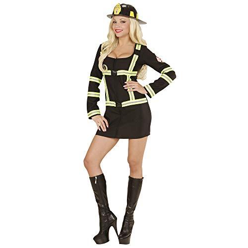 Widmann 06602 - Erwachsenenkostüm Feuerwehrfrau, Kleid, schwarz, Größe M (Sexy Feuerwehr Frau Für Erwachsene Damen Kostüm)