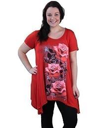 Plus Size Cap Sleeve Floral Hanky Hem Top