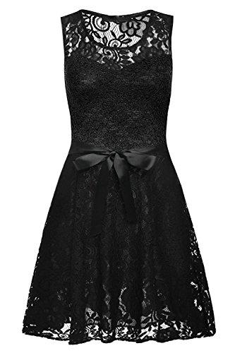 YaoDgFa Damen Kleider Spitzenkleid Minikleid Festliches Partykleid Cocktailkleid Brautjungfernkleid Kleid Casual Basic A-Linie Sommer Schwarz EU 46/48 (Tag XXL)