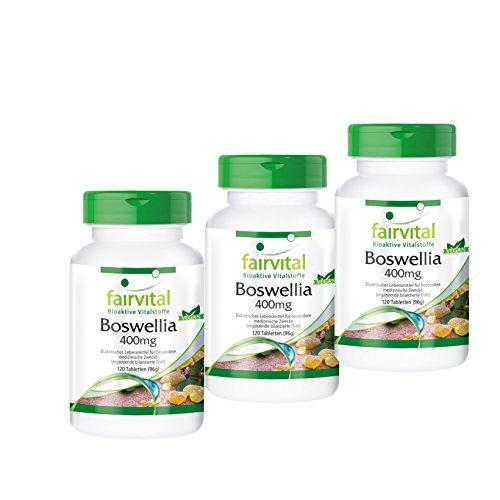 Boswellia Weihrauch 400mg, Boswellia serrata - indischer Weihrauch, mind. 65% Boswelliasäuren, 2 plus 1 (3x 120 vegetarische Tabletten) (65 Kapseln)