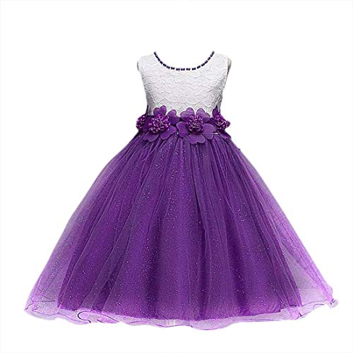 KOKOUK: Tiara Included! Girls Pearl Flower Formal Princess Dress for Wedding Party Birthday Christening Christmas Easter 3-10 Years (Purple) -
