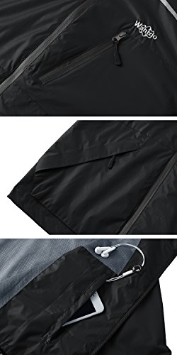 Wantdo Leichte Wasserdichte Winddichte Softshell Jacke Regenjacke mit Kapuze Schwarz