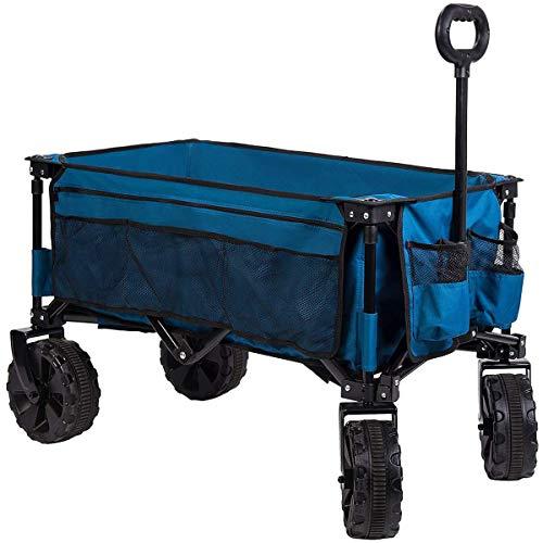 Timber Ridge folding camping wagon / wagen zusammenklappbarer robuster stahlrahmen garten / bollerwagen / wagen 35.5x18.4x39 zoll blau-seitentasche