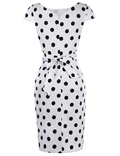 Belle Poque 50s Vintage Rockabilly Kleid Midi Polka Dots Kleid Damen Pencil Kleid BP305 Weiß