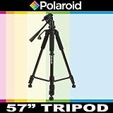 Polaroid 145 cm Foto / Video Reise Dreibeinstativ mit Deluxe Tragetasche für die Nikon 1 J1, J2, V1, D40, D40x, D50, D60, D70, D80, D90, D100, D200, D300, D3, D3S, D700, D3000, D5000, D3100, D3200, D7000, D5100, D4, D800, D800E, D600 Digitale SLR Kameras