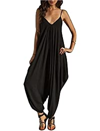 Monos Y Vestidos De Mujer Fiesta Largos Verano Jumpsuits Cuello En V De Tirantes Holgados Harem Pantalones Negro M