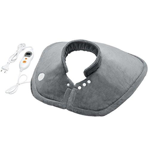MARNUR Almohadilla eléctrica Cervical Hombros para alivio del dolor en cuello y hombros, con terapia por calentamiento rápido, con cierre magnético y lavable Funda Lavable con 6 Niveles Temperatura