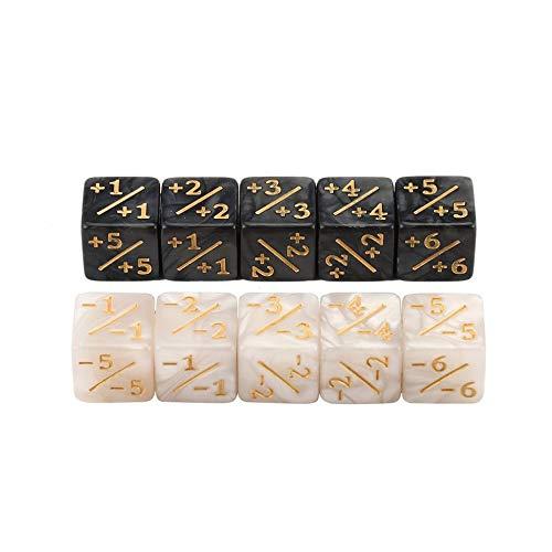 10X Würfelzähler für Magic The Gathering Table Game Lustige Würfel (Weiß+Schwarz)