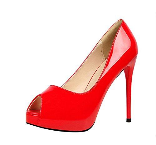 XINJING-S Peep Toe High Heels Schuhe Party Hochzeit Frauen Pumps Heels Business Kleidung Schuhe Rot