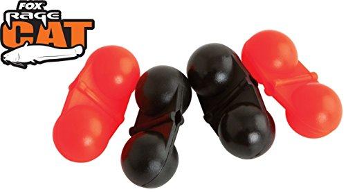 Fox Rage Cat Rig Rattles Red/Black 4 Stück, Rasseln für Wallermontagen, Geräuschkapseln für Wels, Angeln auf Wels, Wallerangeln
