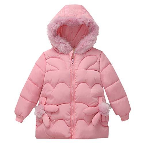 Livoral Kinder Winter Mantel Mode Mantel Kinder Winterjacke Mantel boygirl Jacke warme Kapuze Kinder Kleidung(Rosa,90)
