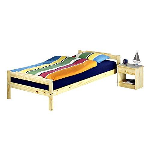IDIMEX Einzelbett Jugendbett Gästebett Bettgestell MORITZ, Kiefer massiv, 90x200cm natur lackiert