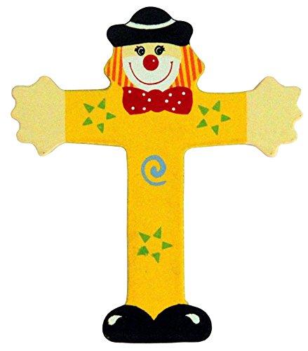 Holzbuchstaben und Zahlen- Clowns - mit Klebepad in zufälliger Farbe - Rimini Baustoffe® - Ideal für Türen und Schränke (Buchstabe T)