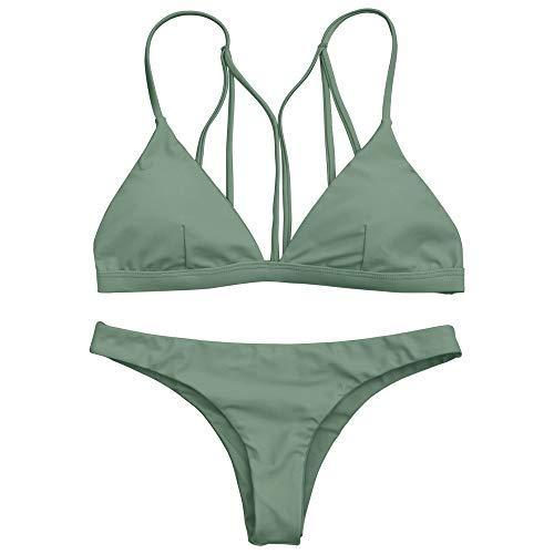 ZAFUL Damen Sexy Tanga Bikini Set Grün S