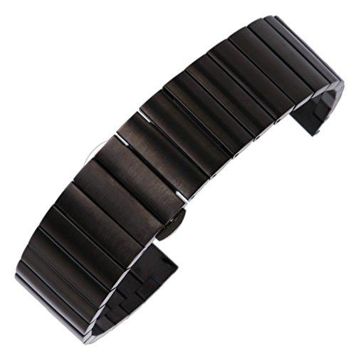 22mm Premium-Metallarmband der Männer für Geschäfts Uhren in schwarz aus massivem Edelstahl Uhrenarmbänder