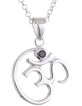 Vinani Anhänger OM Symbol Zirkonia schwarz mit Erbskette Sterling Silber 925 Kette Italien AOM-T