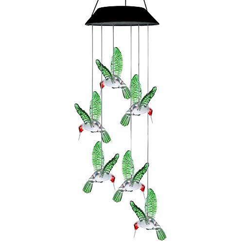 GYFHMY 2 Paket windspiele solar licht Farbwechsel Hummingbird led-leuchten im freien wasserdicht angetrieben für Home Party Yard Dekoration Schnur Lichter terrasse (Außerhalb Dekorationen Halloween Yard)