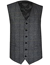 Lloyd Attree & Smith Men's Classic Wool Handle Waistcoat, Grey Herringbone Check Pattern