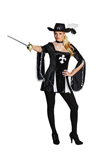 Karneval-Klamotten Musketier-Kostüm Damen sexy Lady Musketier Kleid schwarz Karneval Fasching Damenkostüm Größe 36