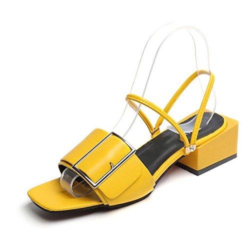 Bei Frauen mit flachen Sandalen Wort Drag offene Sandalen weiblichen wilden Yellow