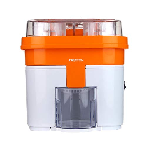 PRIXTON - Exprimidor Electrico de Naranjas Profesional para Zumo, Exprimidor Automatico con Doble Cabezal y Cortador Incoporado, Potencia de 90 W y Capacidad de 0Ž5 L, Color Blanco y Naranja | XP3