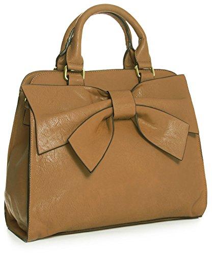 Big Handbag Shop , Damen Satchel-Tasche One hellbraun