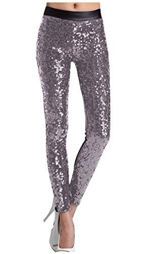 Lotus Instyle Frau Kunstleder mit Pailletten Leggings Leder Strumpfhosen Mode Hosen (XL, Silber)