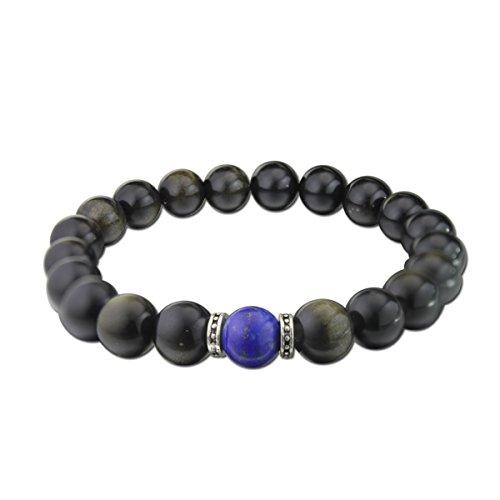 Frieden Für Männer Ringe (COLORFEY edelstein armband herren perlen golden sheen schwarz obsidian mit blau lapis lazuli energy stein für Männer Meditation (21,3 cm))