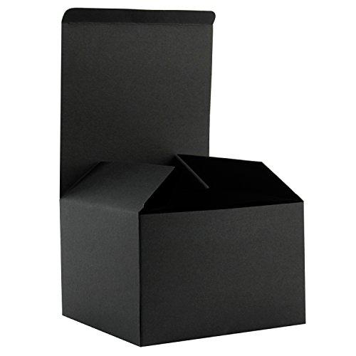 RUSPEPA 15,5 X 15,5 X 10,5 Cm Recycled Karton Geschenkboxen Mit Deckel, 20 Pack Geschenk-Gunst-Boxen In Groß (Schwarz)