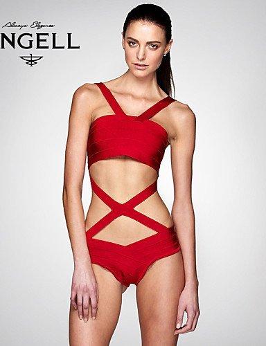 skt-swimwear-Damen-Bandeau-Sexy-Bandage-Bikinis-massivKreuz-Bgel-BHPadless-BH-BaumwollePolyester-rot