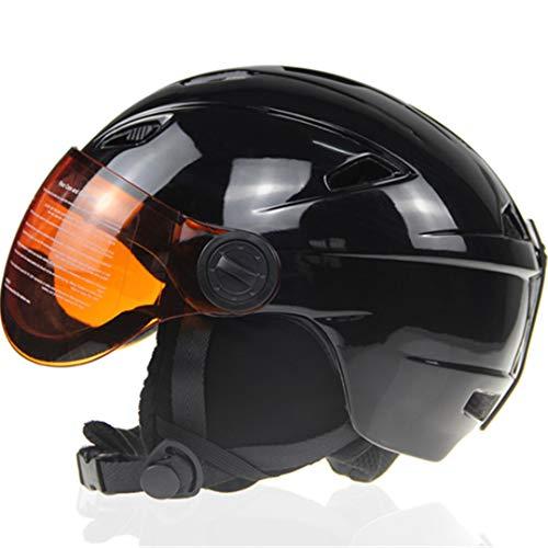 Mann/Frau / Kinder Skihelm mit Brille Winter Snow Warm Plüsch Snowboard Helm Snowmobile Ski/Schlitten Maske Moto Bike Sport Sicherheit Black 56-58cm