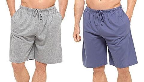 Hommes Paquet Double Shorts Salon Jersey Extensible Sommeil Vêtement De Nuit Pyjama Bas - JEANS CLAIR GRIS, Large