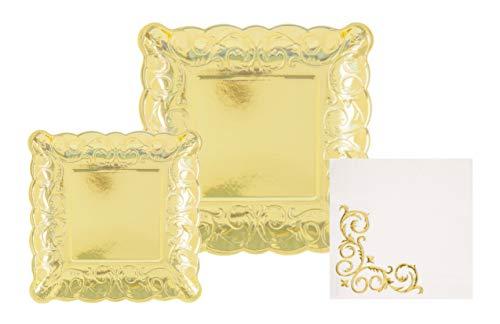 d Partyservietten, geprägt, quadratisch, 3-teilig, 20 Essteller, 20 Dessertteller, 30 große Servietten gold ()
