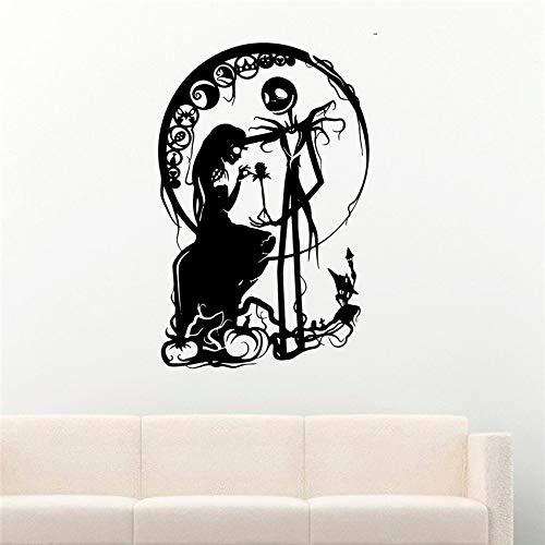 zhuziji Monster Horror Wandtattoo Mädchen Silhouette Halloween Dekoration Aufkleber Vinyl Wand Vinyl Kinderzimmer Kinderzimmer Wand Stick weiß 58 X 90 cm (Anfänger Halloween-noten Für)