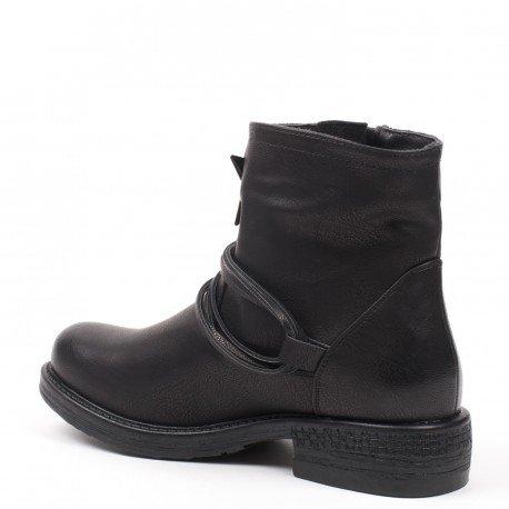 Ideal Shoes - Bottines en similicuir décorées d'étoiles Mialy Noir