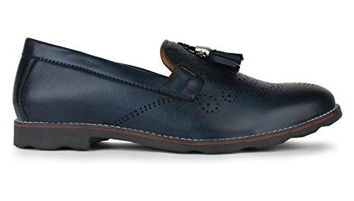Adreno slip-on faux cuir intelligents de style casual chaussures hommes - choisir la taille bleu marine et marron