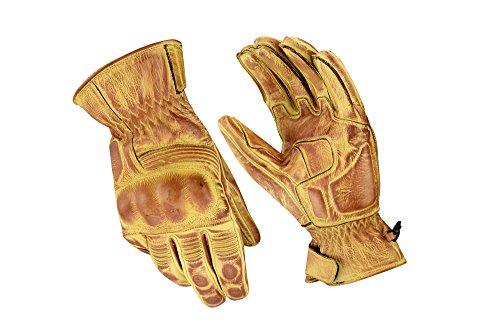 Motorrad Sport Racing Kevlar gewachst Leder Handschuhe Wachs Beige, XL (Kevlar-motorrad-leder)