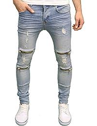 Enzo Mens Designer Branded Distressed Zip Detail Panel Stretch Skinny Fit Jeans