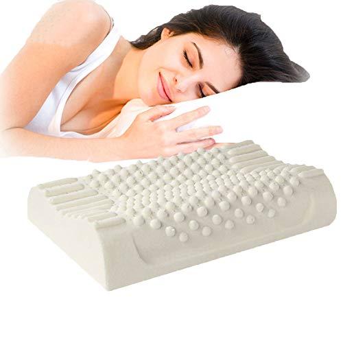 MJLXY Nackenkissen Naturlatex-Massage-Partikel-Kontur-Memory-Schaum-Kissen - Orthopädische Schmerzlinderung Nackenmassage Nackenkissen - Kontur-massage-kissen
