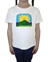 Sol Paisaje Blanco Algodón Niña Niños Camiseta Manga Corta Cuello Redondo Mangas White Girls Kids T-shirt
