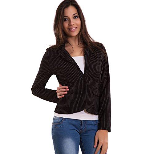 Toocool - Giacca donna gessata avvitata elegante bottone tasche blazer sexy nuova CJ-2076 (Nero Giacca Gessata)