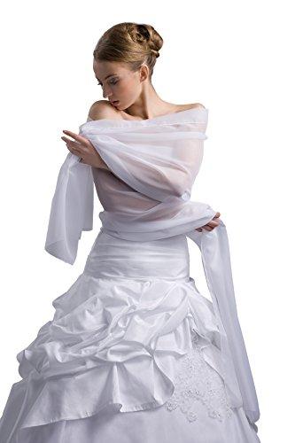 Chiffon Braut Schal / Stola Brautkleid - 180 cm Laenge - E18sk (weiß)