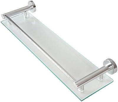 Estante de pared para cuarto de baño de cristal y aluminio
