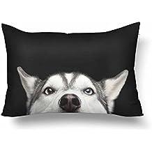 InterestPrint Funda de almohada rectangular para sofá o cama, diseño de cara de perro siberiano