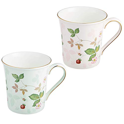 Wedgwood Wild Strawberry Pastell-Tasse Paar Geschenk-Set (Pink u0026grün) Wedgwood Wild Strawberry