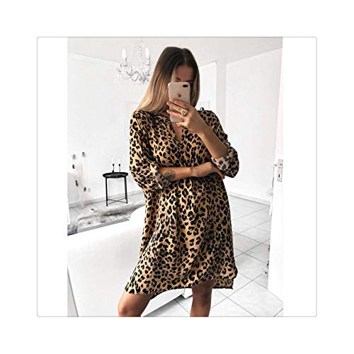 FJLOKE& 2019 Women Autumn Sexy Leopard Snake Print Striped Long Sleeve V-Neck Dress Ladies Casual Empire Mini Dresses Above Knee Length Yellow L
