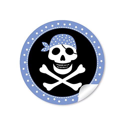 24 STICKER: 24 Geschenkaufkleber PIRAT mit Totenkopf (A4 Bogen) in Blau/Schwarz Kindergeburtstag für ein Junge • Papieraufkleber/Sticker/Aufkleber/Etiketten (Format 4 cm, rund, matt)