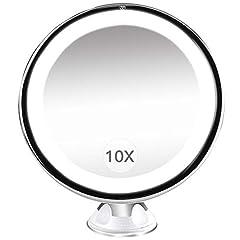Idea Regalo - Specchio Ingranditore da Trucco con Luce LED, BESTOPE Specchio Cosmetico Illuminato Ingradimento 10X, con Potente Ventosa, Ruota di 360°, Perfetto come Regalo da Bagno e Utile Anche per Viaggio