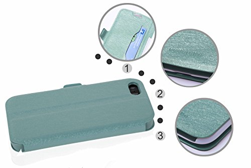 Cadorabo - Ultra Slim Book Style Cover for >              Apple iPhone 5 / 5S / SE              < with Card Slot and Stand Function - Etui Case Protection Skin in ICY-SCHWARZ ICY-BLAU